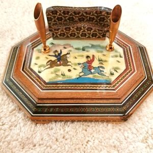 Vintage handcrafted Persian letter and pen holder